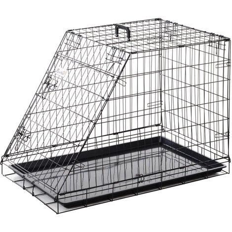PawHut Trapeze Metal Collapsible Dog Cage w/ Handle Removable Tray 65x58cm