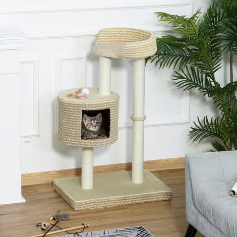 PawHut Two-Tier Cat Tree Activity Centre Climbing Frame Kitten w/ House Perch