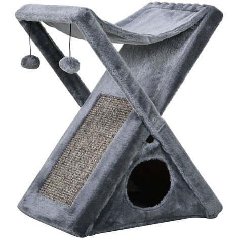 PawHut Two Tier Cat Tree Play Rest w/ Scratching Post Hammock Pom Poms Grey