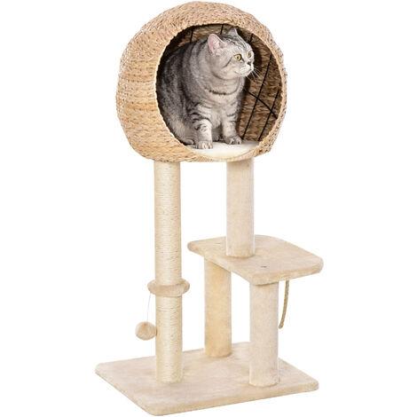 PawHut Two-Tier Cat Tree Rest Pod Activity Centre Kitten w/ Round House Scratch Post