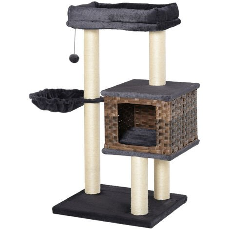 PawHut Two-Tier Plush Covered & Rattan House Cat Kitten Tree Tower Activity Centre