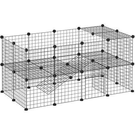 PawHut Valla Metálica Parque Metálica para Mascotas con 36 Paneles Desmontable DIY - Negro