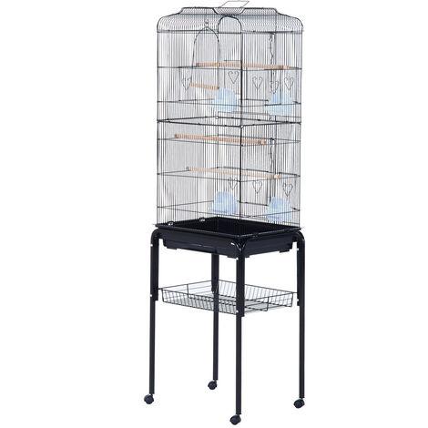 PawHut® Vogelhaus Vogelkäfig Vogelvoliere für Papagei Wellensittich Vogelbauer mit rollbarem Ständer Schwarz 47,5x37x153cm