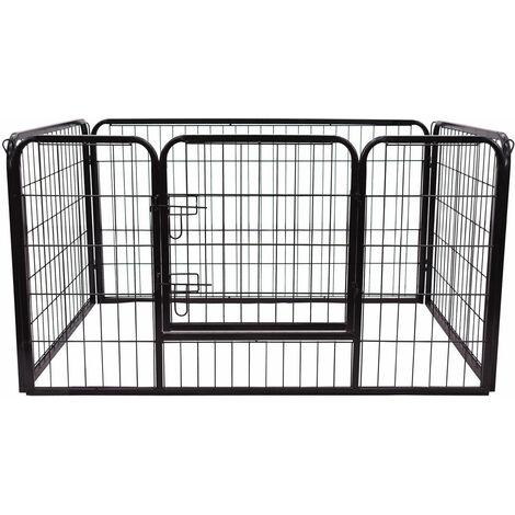 PawHut® Welpenauslauf Freilaufgehege für Hasen/Kaninchen 125x80x70cm - schwarz