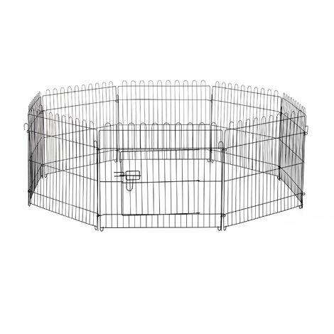 PawHut® Welpengitter Freilaufgehege Hasen Kaninchen 71x61cm - schwarz