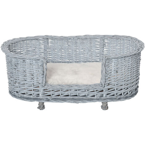 PawHut Wicker Dog Bed Basket Pet Sofa Lounge Furniture w/ Base Cushion 92x52cm