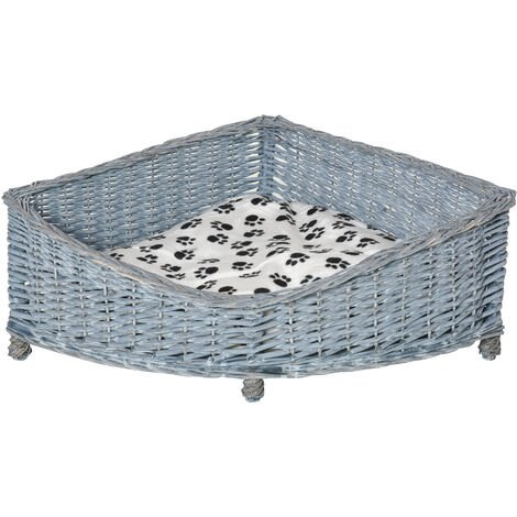 PawHut Wicker Dog Corner Basket Pet Bed Sofa w/Cushion Elevated Base 68x68cm
