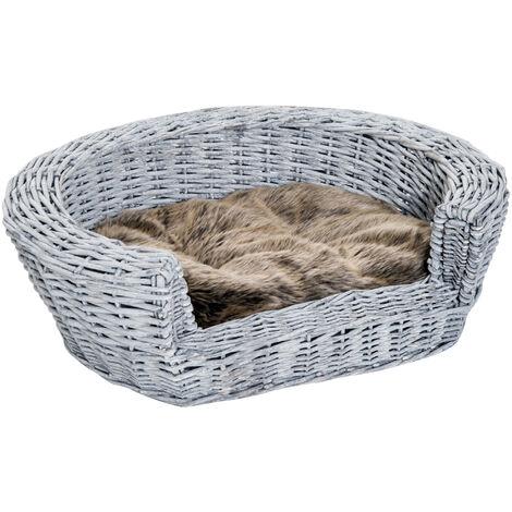 PawHut Wicker Pet Bed Willow Dog Cat Sofa Puppy Basket with Cushion Grey 57L x 46W x 17.5H cm