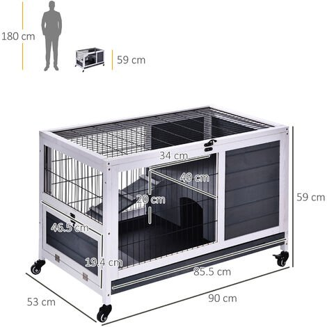 PawHut Wood Indoor Rabbit Hutch w/ House Play Area Metal Fence w/ Wheels
