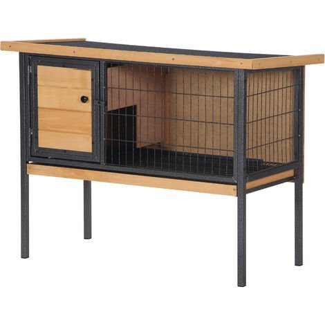 PawHut Wood & Metal Elevated Rabbit Hutch Bunny Cage House w/ Asphalt Roof Door