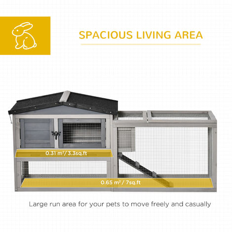 PawHut Wood Rabbit House Hutch w/ Outdoor Run Secure Opening Roof Light Grey