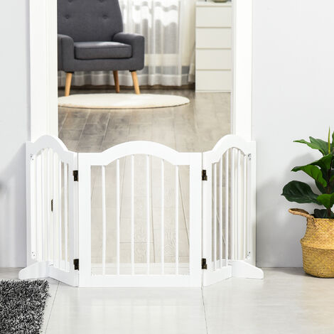 PawHut Wooden 3 Panel Dog Gate Freestanding Pet Fence Safety Barrier White