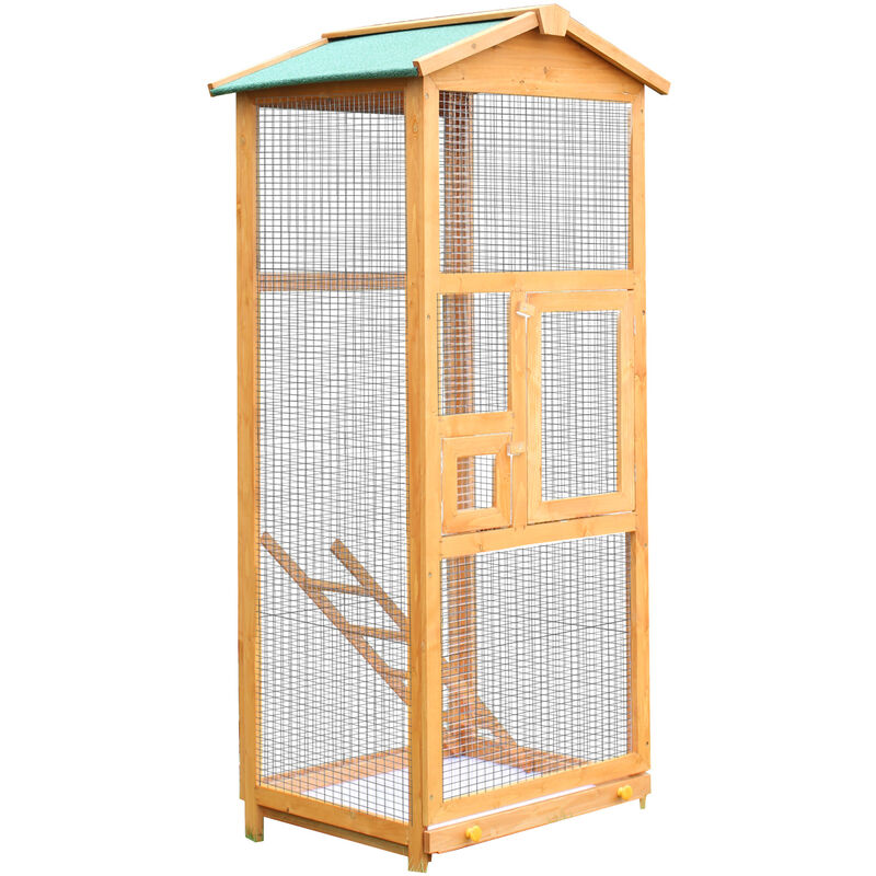 Pawhut Wooden Bird Cage Birds Parrot Playing Zone Budgie