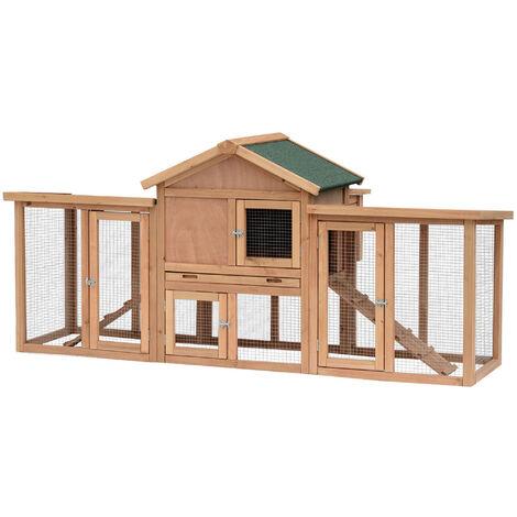 PawHut Wooden Chicken Coop Backyard Hen Cage House w/ Nesting Box & Run