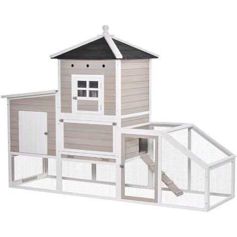 """main image of """"PawHut Wooden Chicken Coop Outdoor Hen House Multi-room Poultry Cage with Removable Tray Separate Nesting Box, Grey 235 x 83 x 171cm"""""""