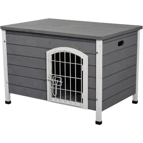 PawHut Wooden Dog Crate Kennel House w/ Wire Door Lock Small Easy-Open Roof