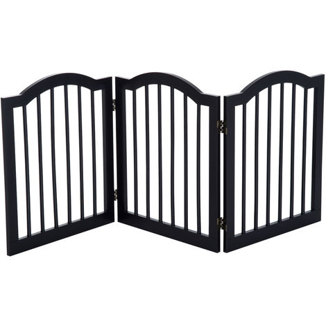 PawHut Wooden Dog Gate Stepover Panel Pet Fence Folding Safety Barrier