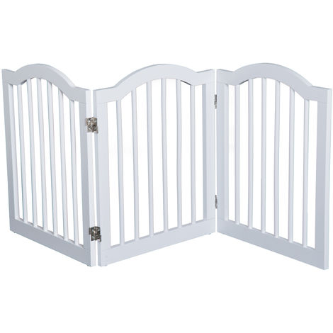 PawHut Wooden Dog Gate Stepover Panel Pet Fence Folding Safety Barrier - White