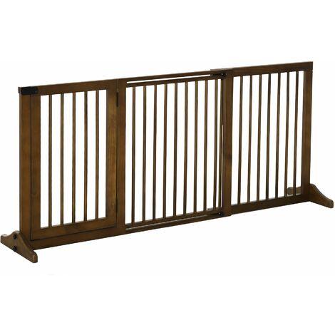 PawHut Wooden Freestanding Pet Gate Adjustable Length w/ Door Lock Safe Barrier Brown