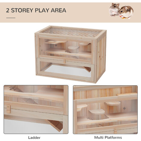"""main image of """"PawHut Wooden Hamster Cage Mouse Small Animals Hutch 60 x 35 x 42cm"""""""