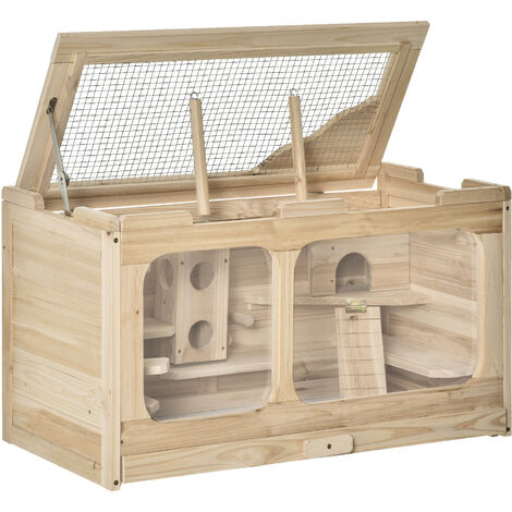 PawHut Wooden Hamster Cage Rodent Small Animal Kit Play House for Indoor