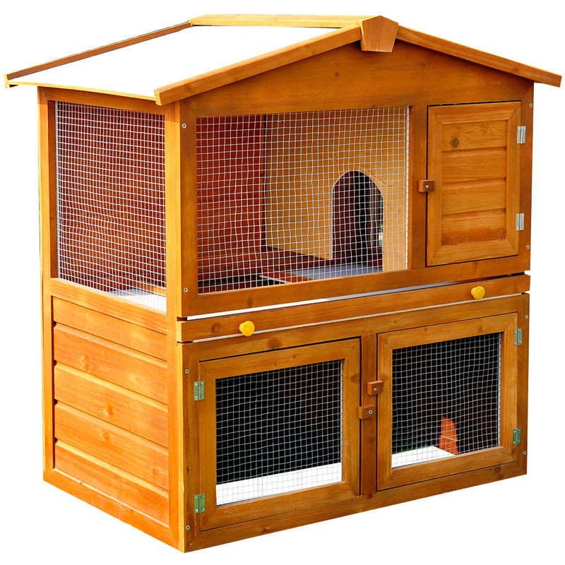 PawHut Wooden Rabbit Guinea Pig Ferret Hutch House Cage Pen With Built in Run - 93.5cm x 55cm x ...