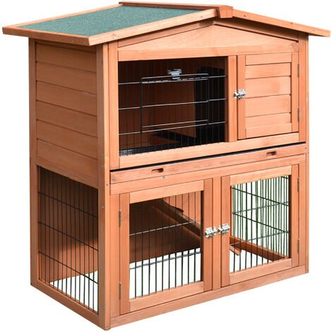 PawHut Wooden Rabbit Hutch A-Frame Pet Cage Wood Small House Chicken Coop