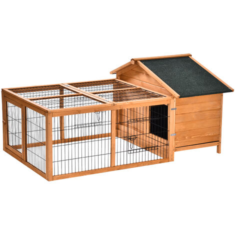 PawHut Wooden Rabbit Hutch Detachable Pet House w/ Opening Run Roof