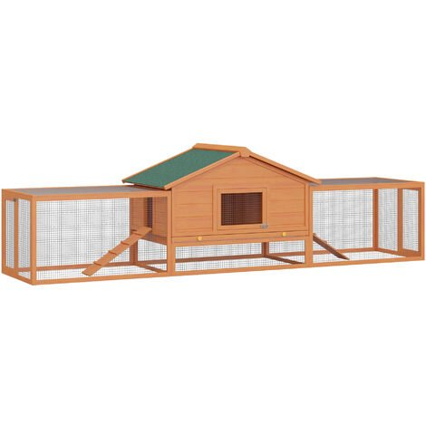 PawHut Wooden Rabbit Hutch Large Pet Habitat House Animal Cage w/ Ramp and Run Area