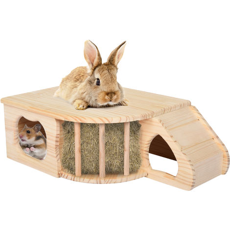 PawHut Wooden Small Animals House Playground with 2 Doors for Guinea Pig, Totoro