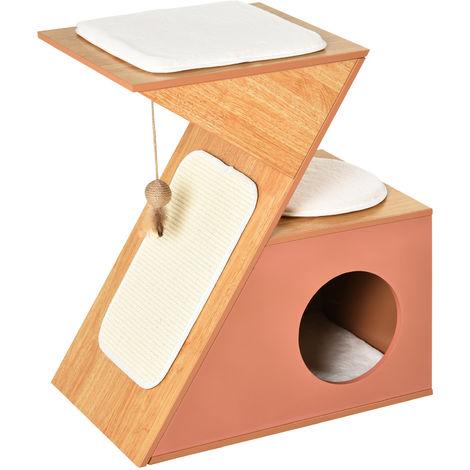 PawHut Z Shape Activity Cat House House 2 Platforms Cushions Scratch Strip Orange