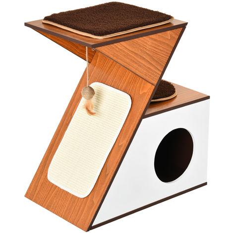 PawHut Z Shape Activity Cat House House 2 Platforms Cushions Scratch Strip White