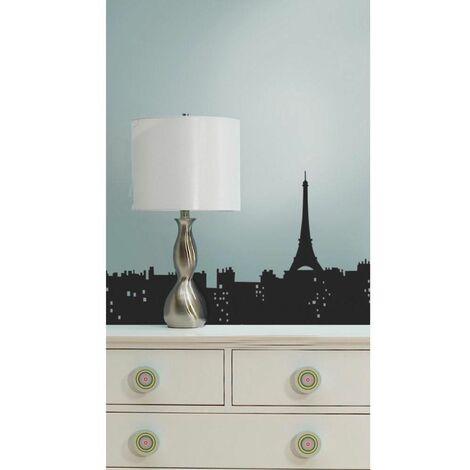 PAYSAGE URBAIN PARIS - Stickers repositionnables géants Paris, paysage urbain 193x43 - Noir
