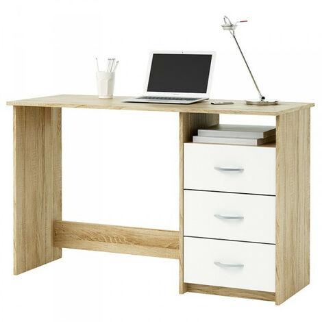 PC Schreibtisch Jana B 123 x 50 cm sonoma Eiche - weiß grau B-Ware