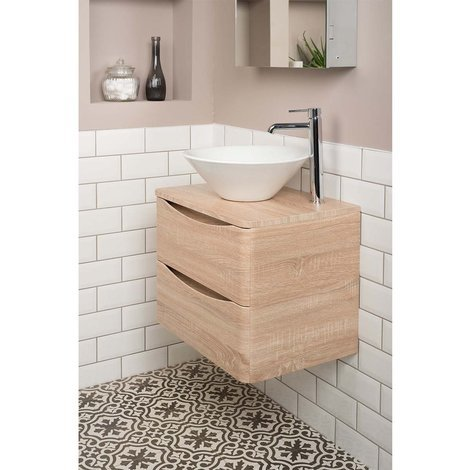 Peace Light Oak 600mm Wall Hung Vanity Unit & Osaka Countertop Basin