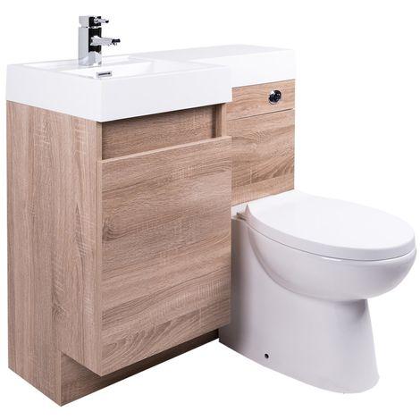 Peace Light Oak Left Hand Combination Vanity Unit Set with Toilet