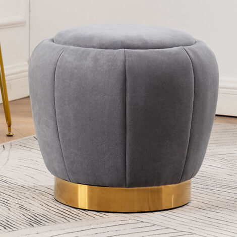 Peach Shape Velvet Footstool, Grey