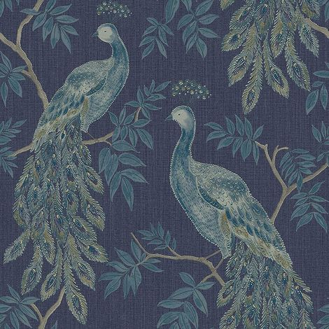 Peacock Bird Wallpaper Metallic Tree Animal Print Blue Paste Wall Vinyl Arthouse