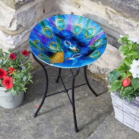 Peacock Birdbath Bird Bath 35cm wide 50cm high
