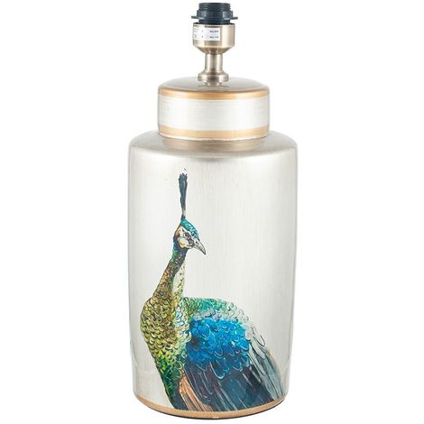 Peacock Tall Silver Ceramic Table Lamp
