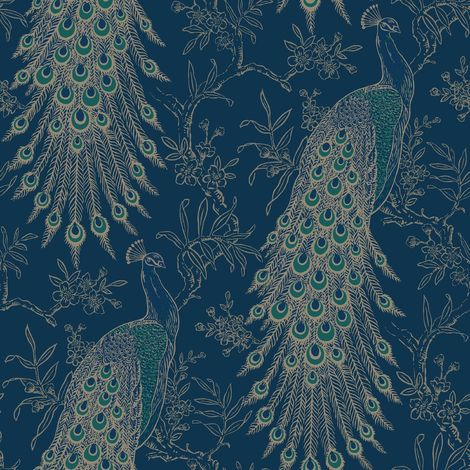 Peacock Wallpaper Navy Blue Gold Metallic Feather Floral Vintage Birds Rasch