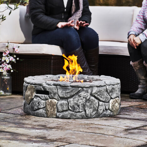 Peaktop Firepit Outdoor Gas Fire Pit Concrete Style, Cover Ignition HF09501AA-UK