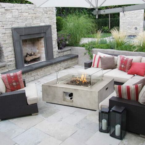 Peaktop Firepit Outdoor Gas Fire Pit Concrete With Lava Rock & Cover HF35708AA-UK