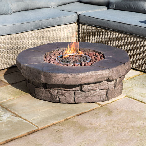 Peaktop Firepit Outdoor Gas Fire Pit Resin With Lava Rock & Cover HF11802AA-UK