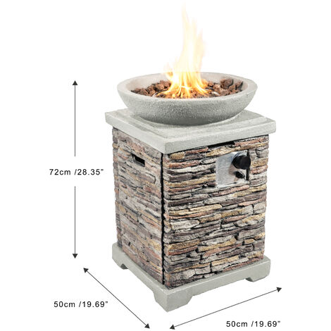 """main image of """"Peaktop Firepit Outdoor Gas Fire Pit Stone With Lava Rock & Cover HF29308AA-UK"""""""
