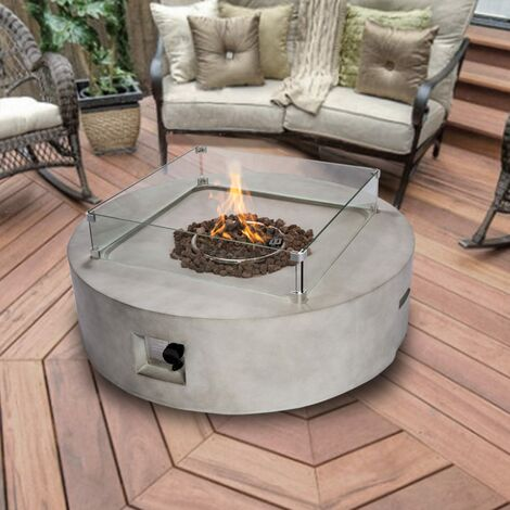 Peaktop Firepit Outdoor Gas Fire Pit Stone With Lava Rock & Cover HF42408AA-UK