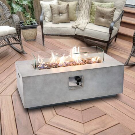 Peaktop Firepit Outdoor Gas Fire Pit Stone With Lava Rock & Cover HF42708AA-UK
