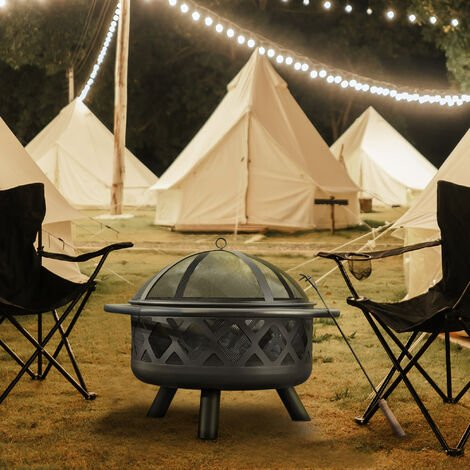 Peaktop Firepit Outdoor Wood Burning Fire Pit 76cm wide For Logs Steel With Cover CU296
