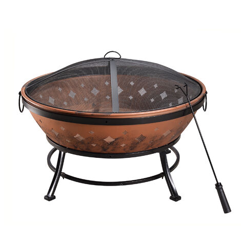 Peaktop Firepit Outdoor Wood Burning Fire Pit For Logs Steel With Cover FP35
