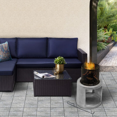 """main image of """"Peaktop Firepit Wood Burning Fire Pit Concrete Style with Steel Poker PT-FW0003"""""""